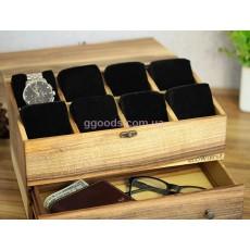 Шкатулка для часов с деревянной крышкой 8 отделений с ящиком
