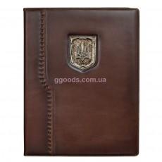 Папка Герб Украины коричневая (кожа)