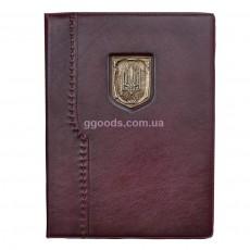 Папка Герб Украины вишневая (кожа)