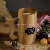 Пивной бокал из дерева цельный