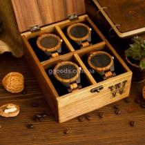 Шкатулка для часов 4 отделения с деревянной крышкой