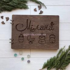 Альбом для фотографий с деревянной обложкой А4 дуб