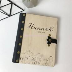 Фотоальбом кожа с деревянной обложкой