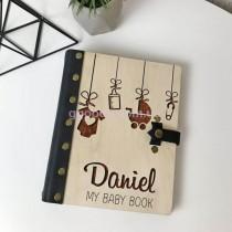 Фотоальбом с деревянной обложкой кожаные вставки
