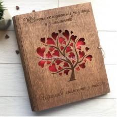 Свадебный фотоальбом Древо любви с деревянной обложкой