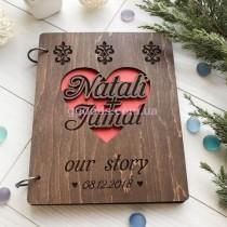 Свадебная книга именная с деревянной обложкой