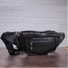 Поясная сумка из кожи черная