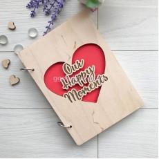 Книга на свадьбу для пожеланий с деревянной обложкой