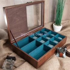 Коробка для часов, очков с комбинированной крышкой на 12 секций