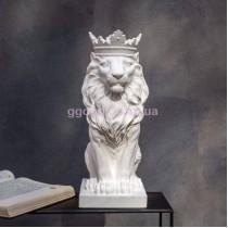 Бюст Лев в короне белый
