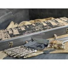 Шампура Дикие звери с ножом, вилкой, топориком в футляре с гравировкой