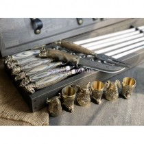 Шампура с деревянными ручками Звери в кейсе