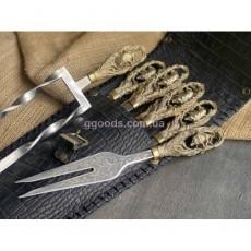 Набор шампуров Кабан в кожаном чехле с вилкой