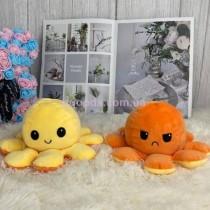 Игрушка осьминог двусторонний желто-оранжевый