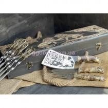 Шампура в деревянном кейсе Морской бриз с ножом, топором и вилкой