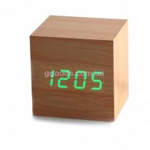 Часы - будильник Wood clock green