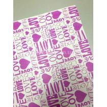 Упаковочная бумага белая Love розовая
