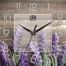 Настенные часы Лаванда деревянный фон