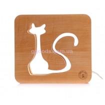Ночник деревянный Кот